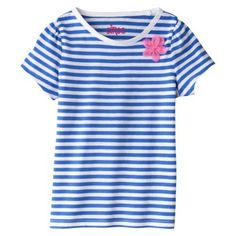 Circo® Infant Toddler Girls' Striped Short-Sleeve Tee $4.50 blue/pink, green/green, gray/coral