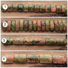 Яшма унакит разделители на 2 нити бусины кабошон камни для украшений. Handmade.