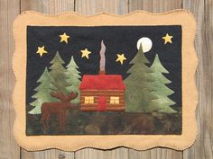 Moose Lake Cabin wool applique PATTERN by cabincreek on Etsy, $8.50