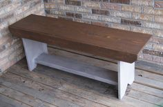 Rustic Bench  Stained Top Primitive Legs  Shabby by FurnitureFarm, $99.00