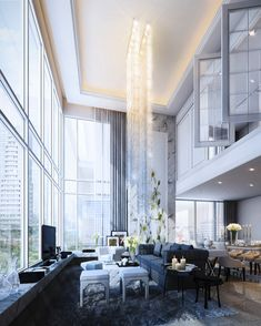 House Interior Design Ideas - Locate the best interior decoration suggestions & inspiration to match your design. Browse through images of decorating suggestions & room colours to create your excellent residence. Style At Home, Design Lounge, Floor Design, High Ceiling Living Room, Architecture Design, Plafond Design, Interior Windows, Decoration Inspiration, Pent House