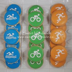 Sweet Handmade Cookies - triathlon cookies, swimming cookies, biking cookies, running cookies.
