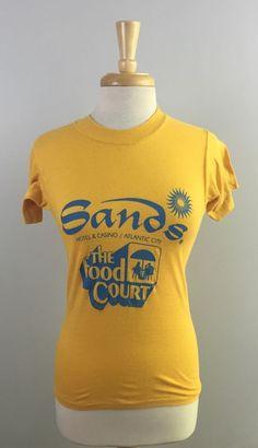 Vintage 80s Sands Hotel Casino Atlantic City Food Court Yellow T-Shirt Adult XS