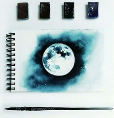 art, black, blue, cloud, cute, dark, draw, drawing, moon, night, painting, sky, white, ​beautiful