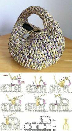 Copy and Profit: Small Yarn Bag ⋆ Facing The Sea – Crochet Bag İdeas. Free Crochet Bag, Crochet Market Bag, Crochet Tote, Crochet Handbags, Crochet Purses, Crochet Crafts, Crochet Stitches, Crochet Backpack, Crochet Bag Tutorials