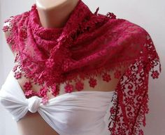 Pink   lace and Elegance Shawl / Scarf  with Lace Edge by womann, $19.00
