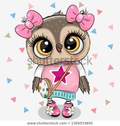Cute Owl with a bows on a white background. Cute Cartoon Owl Girl with bows on a white background royalty free illustration Cute Cartoon Boy, Owl Cartoon, Baby Cartoon, Cartoon Kids, Owl Wallpaper, Animal Wallpaper, Wallpaper Wallpapers, Cartoon Mignon, Kids Cartoon Characters