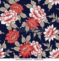 Floral Pattern On Navy Stock Vector (Royalty Free) 1029225415 Line Art Flowers, Flower Art, En Stock, Stock Foto, Textile Patterns, Textile Prints, Photoshop, Adobe Illustrator, Molduras Vintage