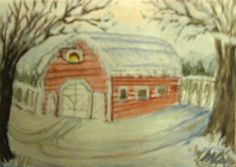 """""""Wintertime At The Old Barn"""" - Original Fine Art for Sale - © Mary Aikens"""