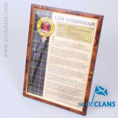 Farquharson Clan History Print. Free Worldwide Shipping Available