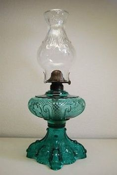 Antique Old Kerosene Oil Victorian EAPG Emerald Princess Feather Glass Lamp | eBay