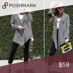 {Plus} Open front striped cardigan w/suede elbow {Plus} Striped Open Front Cardigan w/ suede elbow patch. This listing is for Black/Oatmeal stripe with a black suede elbow patch. These cardigans are amazing, sold out immediately and I've re-stocked in several colors. All 5 star ratings!!! Made in USA! 95/5 Rayon Spandex. No trades Sweaters Cardigans