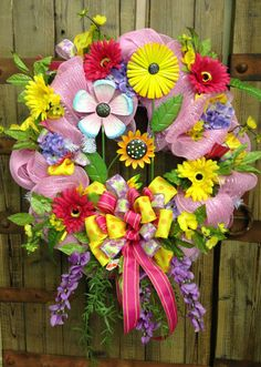 Spring/summer wreath by WilliamsFloral on Etsy, $95.00