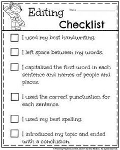 1st Grade Writing Editing Checklist