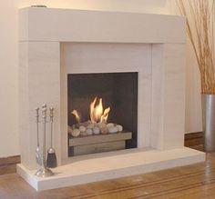 Wisdom Fireplaces, Manchester UK - Modern Contemporary Fireplace Limestone Basket Pebbles