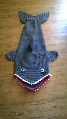 Crocheted Shark Blanket/Cocoon/Sleeping Bag only at www.lmqueenofcrochet.com