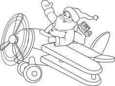 Illustration of Santa Flying His Christmas Plane | Vector | Colourbox