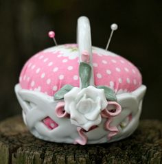 inspiration for Grandma E's little porcelain basket....make a pincusion....so cute
