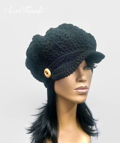 MADE TO ORDER Black Newsboy Hat  Beanie with brim strap  wooden button and  free matching crochet earrings (not pictured) d22e951186b8