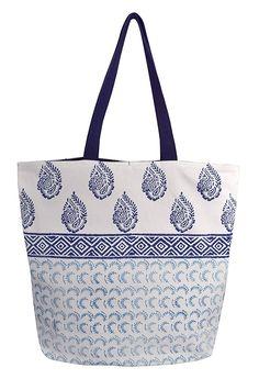 6c99745a9a5d Heena Blue Rope Accent Handle Cotton Canvas Tote Bag Handbags Shoulder Bags