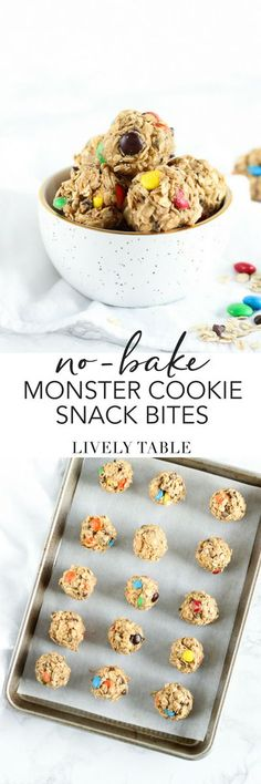 5-Ingredient Monster Cookie Snack bites are just like your favorite cookie, but in healthier, no-bake form! Prep these ahead for a delicious snack you can grab right out of the refrigerator! (#glutenfree, #vegetarian) #cookie #snacks #snackbites #snackballs #chocolate #peanutbutter #oatmeal #energyballs #nobake #easy #healthy