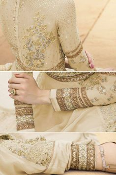 Appealing Cream And Gold Embroidered Georgette Partywear Anarkali