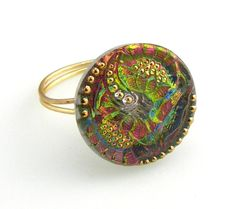 $25 Vintage Czech Glass Button Ring