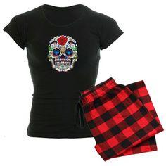 Dia de los Muertos Skull Women's Dark Pajamas