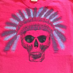 Handpainted skull with headdress tshirt Pink large t shirt with skull hand painted in black, grey, light blue and purple, wash inside out in cool, brand new Tops