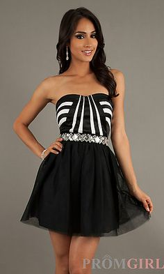 Short Strapless Sweetheart Homecoming Dress at PromGirl.com  //  silver accessories