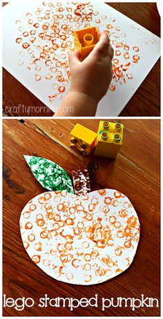 Simple Lego Stamped Pumpkin Craft #Fall or Halloween craft for kids! Perfect for toddlers and preschoolers! | CraftyMorning.com