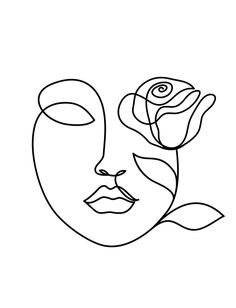 Beauty Woman Face With Rose. One Line Drawing. Couch Throw Pillow by Livdeco - Cover x with pillow insert - Indoor Pillow Art Sketches, Art Drawings, Small Drawings, Face Line Drawing, Simple Face Drawing, Line Drawing Tattoos, Fine Art Drawing, Drawing Drawing, Tattoo Drawings