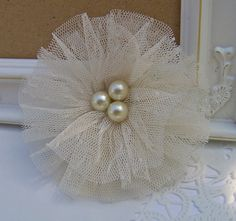 Tulle and Glass Pearl Shabby Chic Fabric Flower - Weddings,  Brooch, Barrette, Necklace, Headband