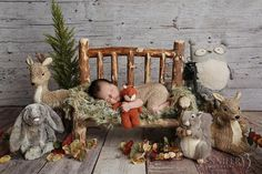 Woodsy Wonders Props & More — High Back Spindle Newborn Prop Wood Bed or Toddler Bench