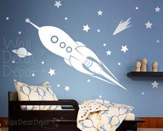 Space Rocket Ship wall decal, Kids, Boy wall decal wall sticker Vinyl Wall decor - Free Shipping  -37