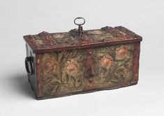 Robert Young Antiques - Folk Art Collection. Foliate and Florally Decorated Miniature Strong Box #FolkArt