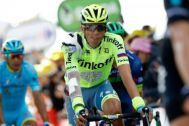 A bandaged and bruised Alberto Contador finishes stage 1 of the Tour de France after a crash earlier in the day.