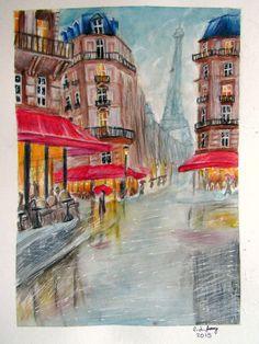 Watercolor/Colored Pencil Paris Painting, 2015