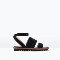 FLAT SANDALS WITH SHINY DETAILS-Shoes-Woman-SHOES & BAGS | ZARA United States