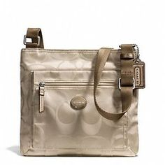 Coach crossbody File bag in signature nylon fabric.  Designer and Top Brand name handbags for less.