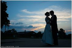 Blue Sunset Silhouette | Lyndi & Adam at Baker Street Station :: Fort Wayne Wedding Photography by Kelly Benton | www.kellybenton.com
