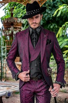 Fuchsia rocker groom suit with black gothic floral brocade tailored italian cut. Gentleman Mode, Gentleman Style, Suit Fashion, Fashion Outfits, Tomboy Outfits, Emo Outfits, Dance Outfits, School Outfits, Gothic Fashion Men