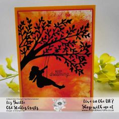 See a Silhouette Bundle girl on swing full card Mom Cards, Kids Cards, Swing Card, Card Sketches, Stamping Up, Stampin Up Cards, Crafts To Make, Making Ideas, Card Making