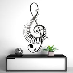 En clave de sol con teclas de piano - VINILOS DECORATIVOS