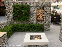 Outdoor living Contemporary garden design for the outdoor lifestyle featuring gabion walls and benches, outdoor kitchen with bespoke concrete counter top and fire pit Blue Granite Countertops, Cheap Kitchen Countertops, Gabion Retaining Wall, Contemporary Garden Design, Contemporary Living Room Furniture, Backyard Garden Design, Garden Landscaping, Outdoor Areas, Planters