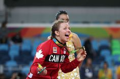 Erica Elizabeth Wiebe (CAN) after winning a gold medal during the women's freestyle 75kg finals in the Rio 2016 Summer Olympic Games at Carioca Arena 2.