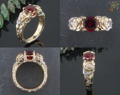 Hand fabricated 18k yellow gold and platinum ring with carved roses and a ruby as the center gemstone