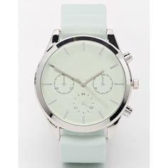 ASOS Silicone Number Dial Watch ($21) ❤ liked on Polyvore featuring jewelry, watches, mint, dial watches, asos jewelry, mint jewelry, asos watches and mint green jewelry