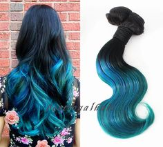 Off Black to Royal Blue Mixed Teal Highlights by BestRoyalHair