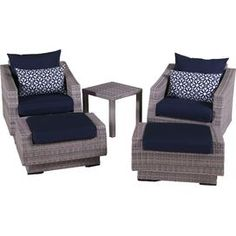 5-Piece Cannes Sunbrella Seating Group in Navy Blue